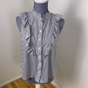 Passport blue white stripe ruffle button down top